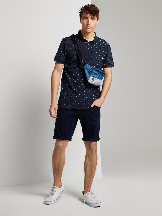 Gemustertes T-Shirt - Männer - navy small wave print - 3 - TOM TAILOR Denim