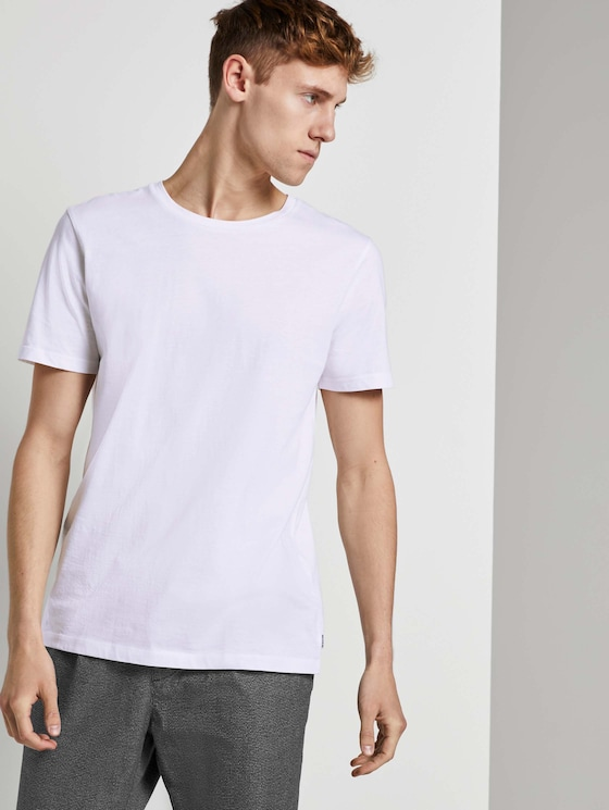 Basic T-Shirt im Doppelpack - Männer - White - 5 - TOM TAILOR Denim