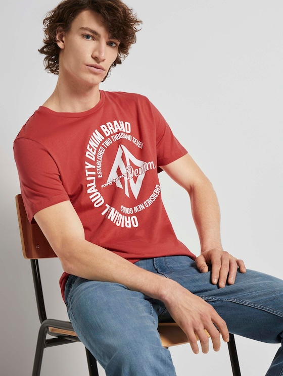 T-Shirt mit Print - Männer - Normal Red - 5 - TOM TAILOR Denim