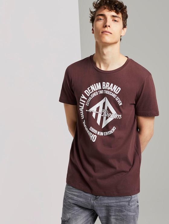 T-Shirt mit Print - Männer - Decadent Bordeaux - 5 - TOM TAILOR Denim