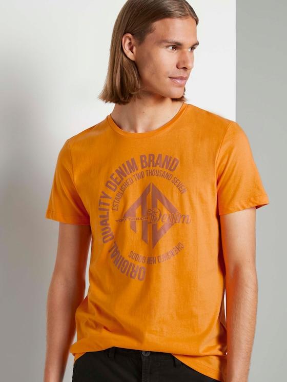 T-Shirt mit Print - Männer - goldfish orange - 5 - TOM TAILOR Denim