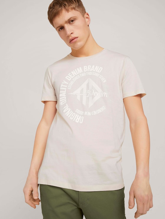 T-Shirt mit Print - Männer - light almond - 5 - TOM TAILOR Denim