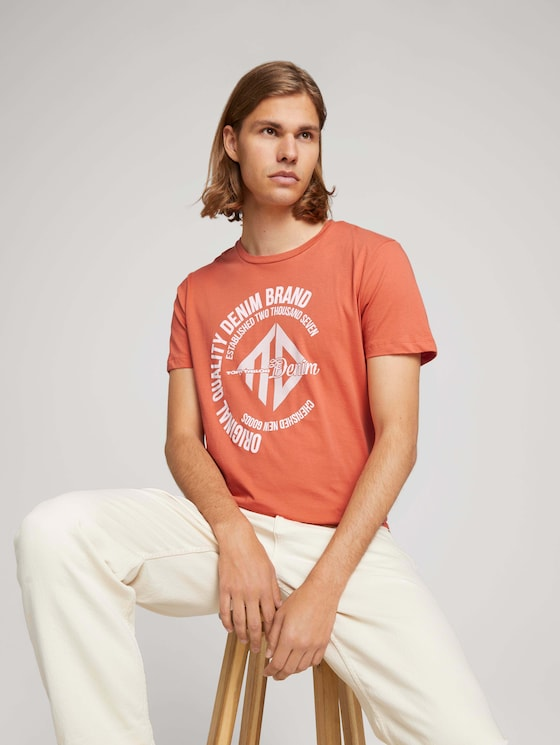 T-Shirt mit Print - Männer - orange-lobster - 5 - TOM TAILOR Denim