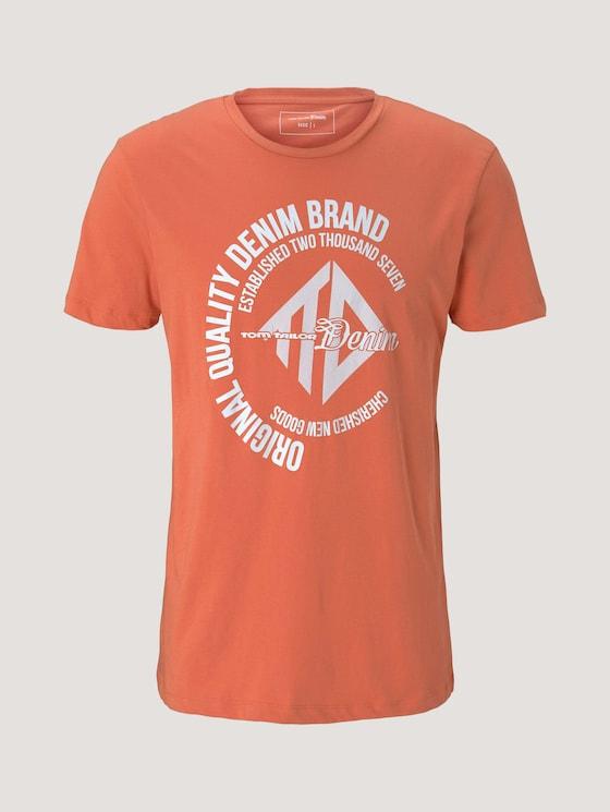 T-Shirt mit Print - Männer - orange lobster - 7 - TOM TAILOR Denim