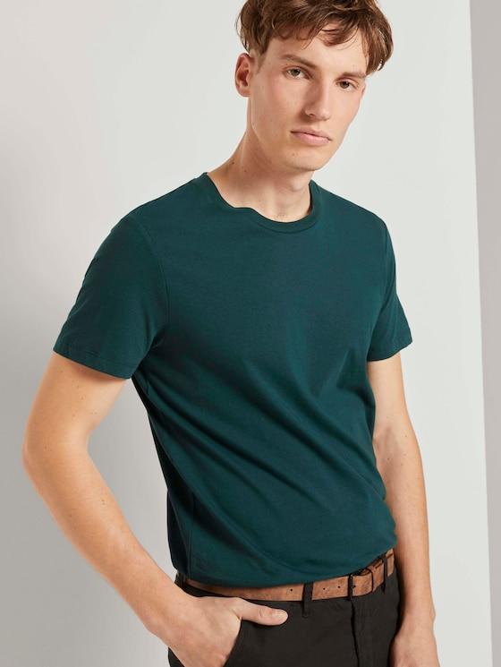 T-Shirt with a logo badge - Men - Deep Green Lake - 5 - TOM TAILOR Denim