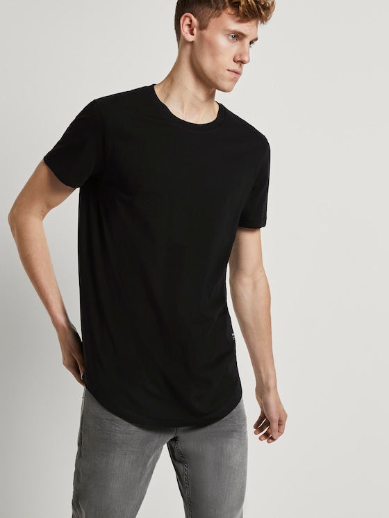 T-Shirt with a logo badge - Men - Black - 5 - TOM TAILOR Denim
