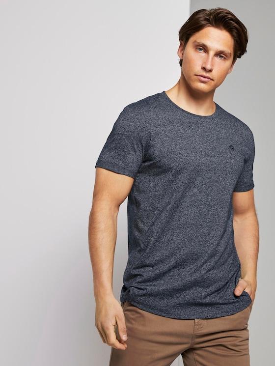 Strukturiertes T-Shirt - Männer - Sky Captain Blue Non-Solid - 5 - TOM TAILOR Denim