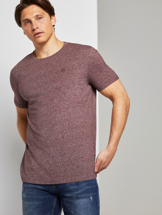 Strukturiertes T-Shirt mit Print - Männer - Decadent Bordeaux Non-Solid - 5 - TOM TAILOR Denim