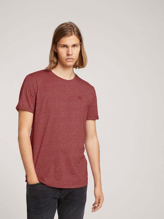 Strukturiertes T-Shirt - Männer - burned cordovan red melange - 5 - TOM TAILOR Denim