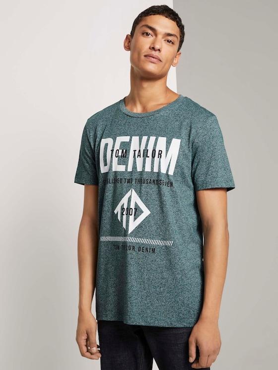 T-Shirt mit Logo Print - Männer - Deep Green Lake Non-Solid - 5 - TOM TAILOR Denim