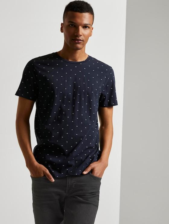 Print T-Shirtaus Organic Cotton - Männer - navy small element print - 5 - TOM TAILOR Denim