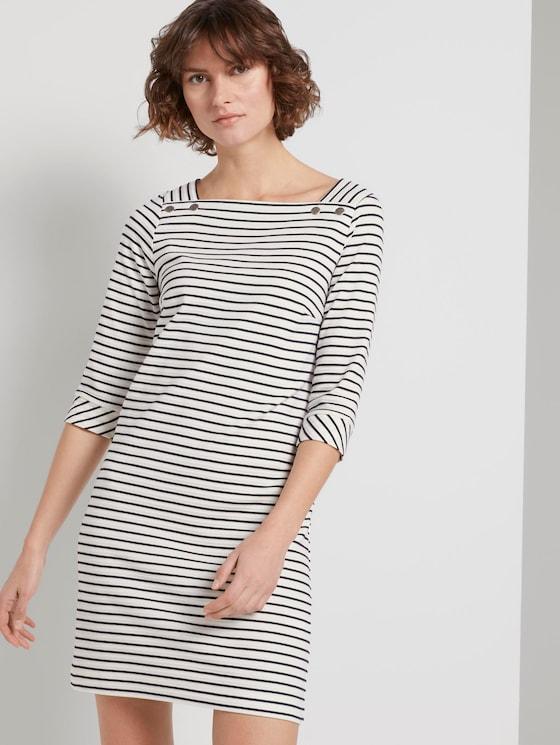 Maritimes Kleid mit Streifen - Frauen - offwhite navy stripe - 5 - TOM TAILOR