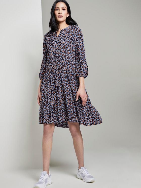 Gemustertes Kleid mit Volants - Frauen - navy floral design - 5 - TOM TAILOR