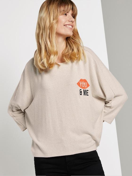hemd met vleermuismouwen en opdruk - Vrouwen - sand beige melange - 5 - TOM TAILOR Denim