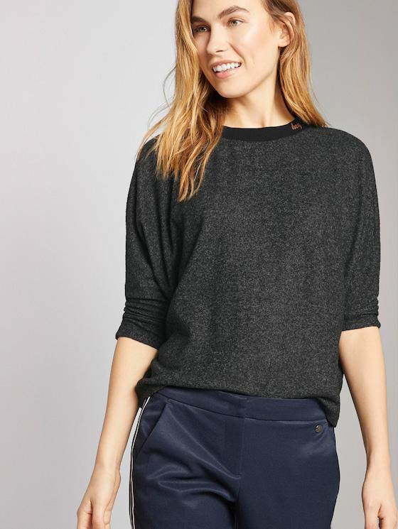 Shirt with logo - Women - Anthracite Melange - 5 - TOM TAILOR