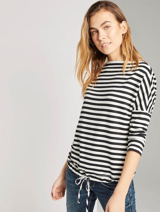 Gestreiftes Sweatshirt mit U-Boot Ausschnitt - Frauen - Black-White Stripe - 5 - TOM TAILOR