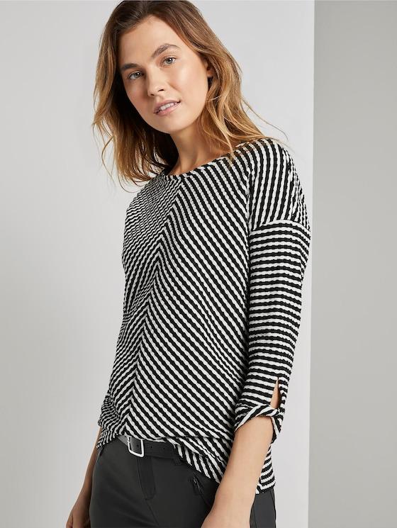 Sweatshirt in Jacquard-Optik - Frauen - black and white structure - 5 - TOM TAILOR