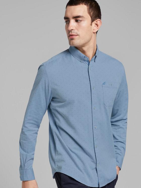 Gemustertes Hemd mit Button-Down-Kragen - Männer - blue white with dobby twill - 5 - TOM TAILOR