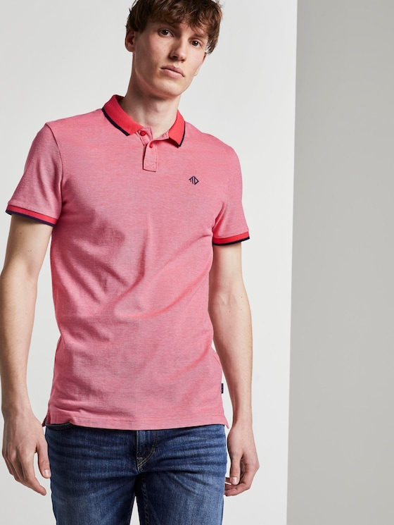 Strukturiertes Pique Poloshirt - Männer - Plain Red Melange - 5 - TOM TAILOR Denim