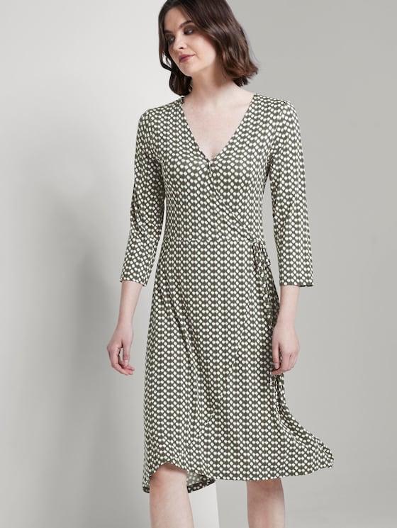 Gemustertes Jersey-Wickelkleid - Frauen - khaki dot design - 5 - TOM TAILOR