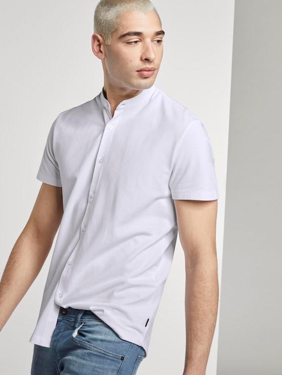 Basic Kurzarmhemd mit Mao-Kragen - Männer - White - 5 - TOM TAILOR Denim