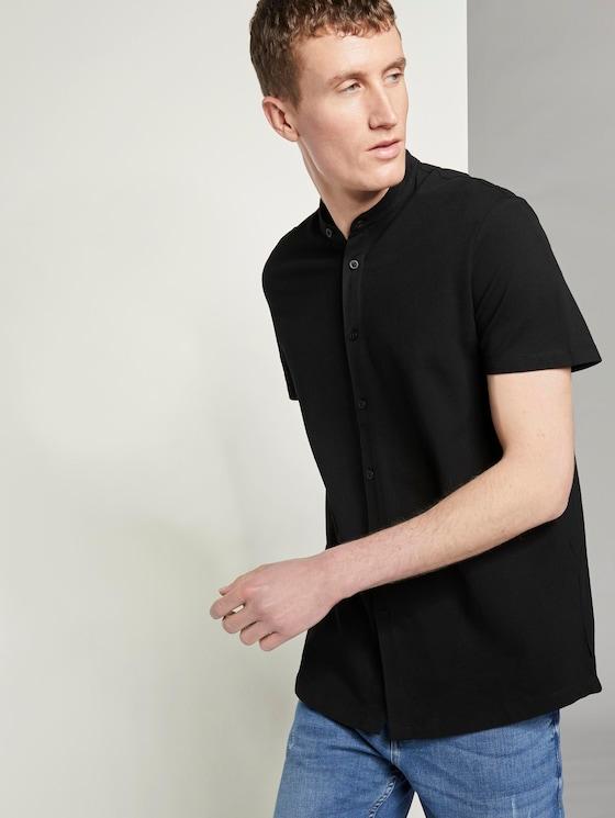 Basic Kurzarmhemd mit Mao-Kragen - Männer - Black - 5 - TOM TAILOR Denim
