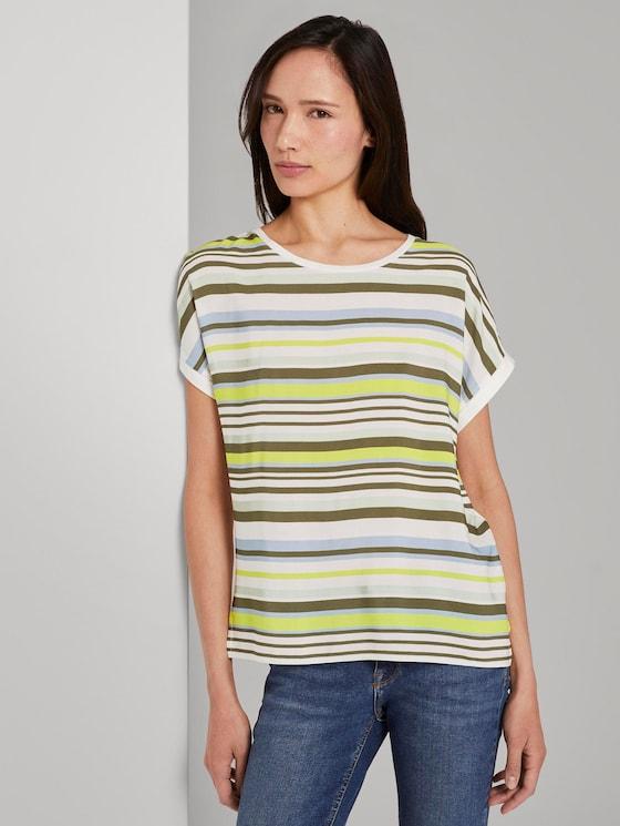 Gestreiftes T-Shirt im Material-Mix - Frauen - green multicolor stripe - 5 - TOM TAILOR