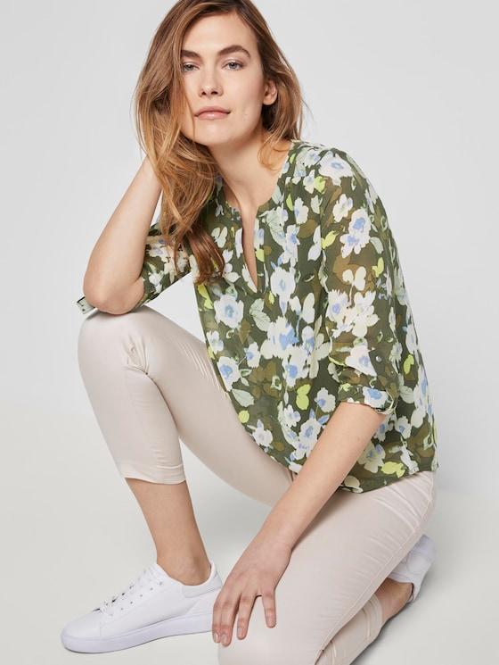 Chiffon-Jersey Langarmshirt mit floralem Print - Frauen - small khaki floral design - 5 - TOM TAILOR