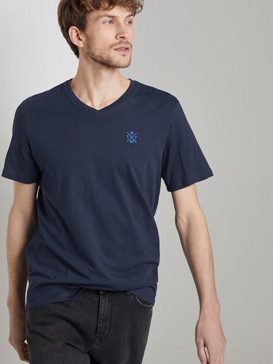Basic T-Shirt mit V-Ausschnitt - Männer - Black Iris Blue - 5 - TOM TAILOR