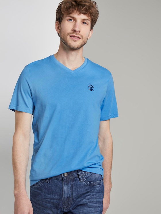 Basic T-Shirt mit V-Ausschnitt - Männer - soft cloud blue - 5 - TOM TAILOR