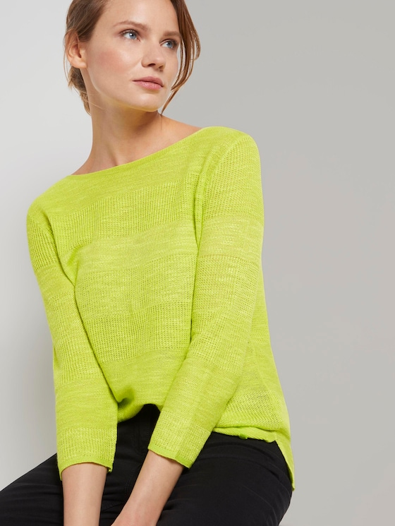 Pullover mit Streifenstruktur aus Leinengemisch - Frauen - citrus green - 5 - TOM TAILOR