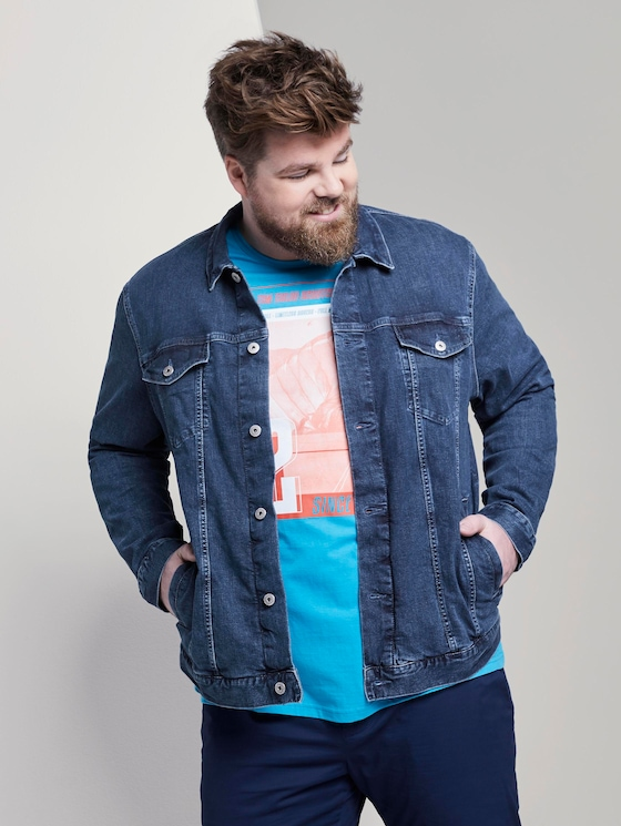 Jeansjacke im Trucker-Stil - Männer - mid stone wash denim - 5 - Men Plus