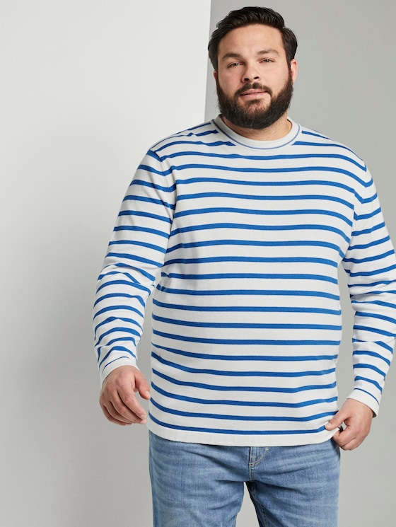 Striped knitted sweater - Men - white victory blue stripe - 5 - Men Plus