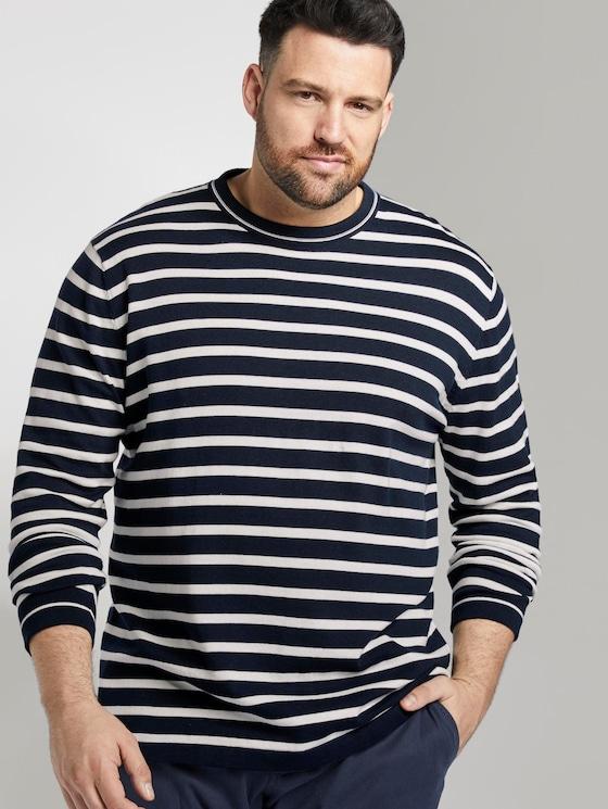 Gestreifter Strickpullover - Männer - navy white stripe - 5 - Men Plus