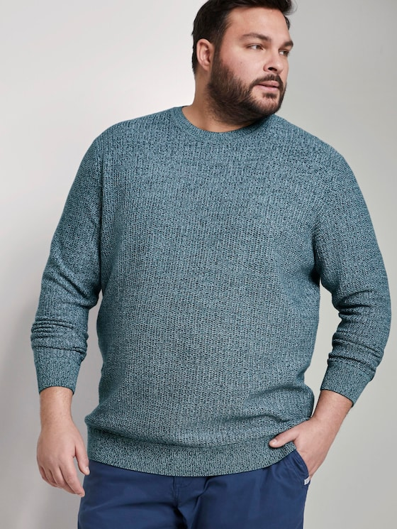Structured knitted jumper - Men - green white structure - 5 - Men Plus