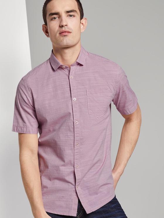 Fein strukturiertes Kurzarmhemd mit Haifischkragen - Männer - pale pink white structure - 5 - TOM TAILOR