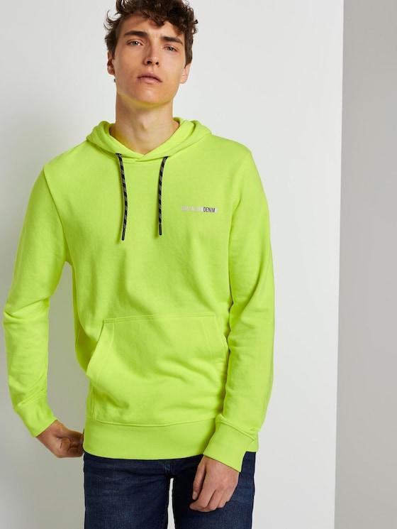 Hoodie mit Schrift-Print - Männer - neon green - 5 - TOM TAILOR Denim
