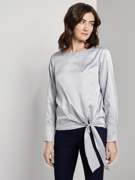 Satin blouse with tie details - Women - Silver Grey - 5 - TOM TAILOR