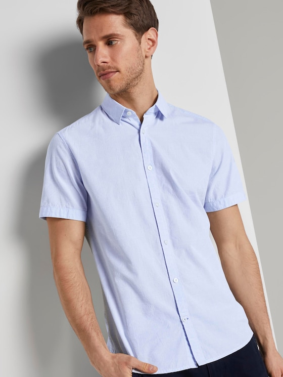 Kurzarmhemd mit Strukturmuster - Männer - light blue stripe white dobby - 5 - TOM TAILOR