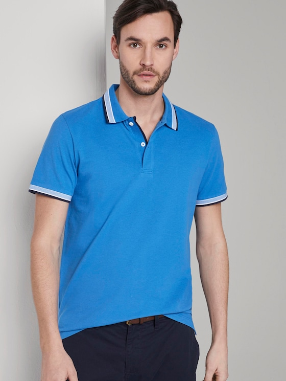 Poloshirt mit Kontrastblende - Männer - Electric Teal Blue - 5 - TOM TAILOR
