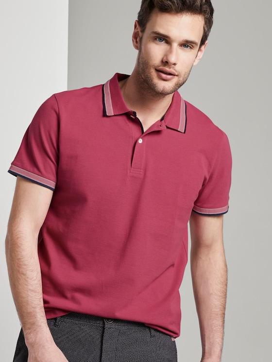 Poloshirt mit Kontrastblende - Männer - wine rose pink - 5 - TOM TAILOR
