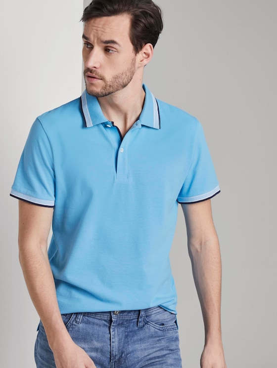 Poloshirt mit Kontrastblende - Männer - soft cloud blue - 5 - TOM TAILOR