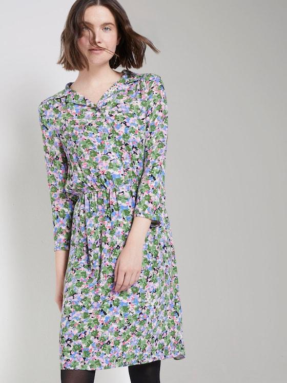 Gemustertes Minikleid mit Revers-Kragen - Frauen - colorful floral design - 5 - TOM TAILOR