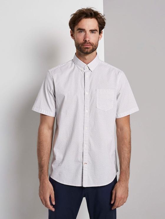 Gemustertes Hemd - Männer - white navy red minimal design - 1 - TOM TAILOR