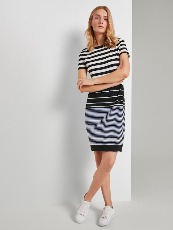 Jerseykleid mit Streifenmuster - Frauen - black white stripe design - 5 - TOM TAILOR