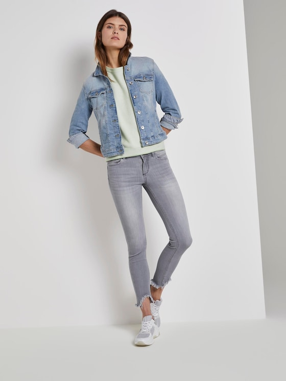 Alexa Skinny Jeans mit Fransen - Frauen - clean light stone grey denim - 3 - TOM TAILOR