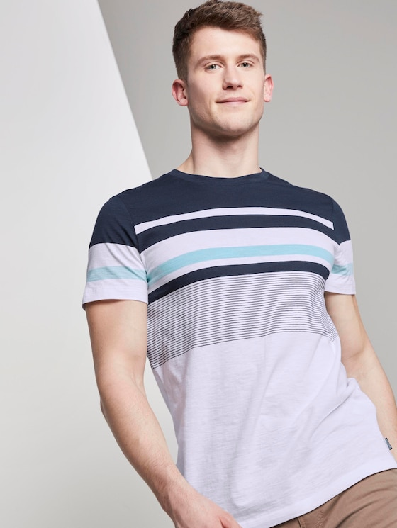 Striped T-shirt - Men - Agate Stone Blue - 5 - TOM TAILOR Denim