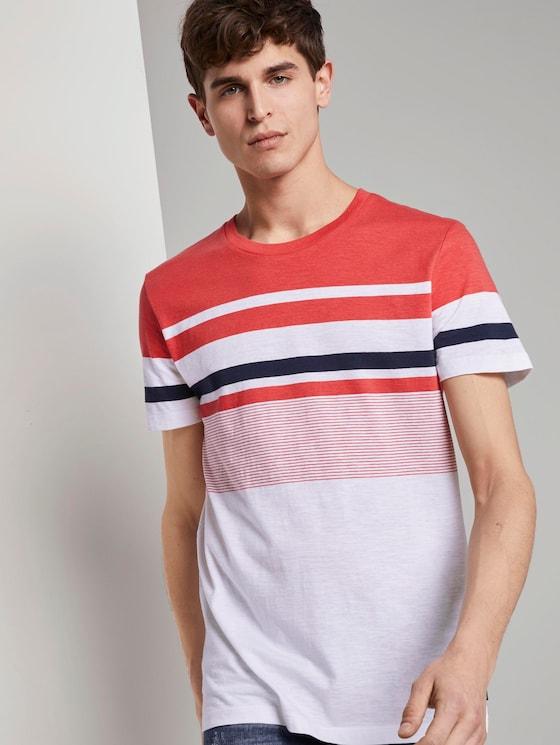 Gestreiftes T-Shirt - Männer - Plain Red - 5 - TOM TAILOR Denim