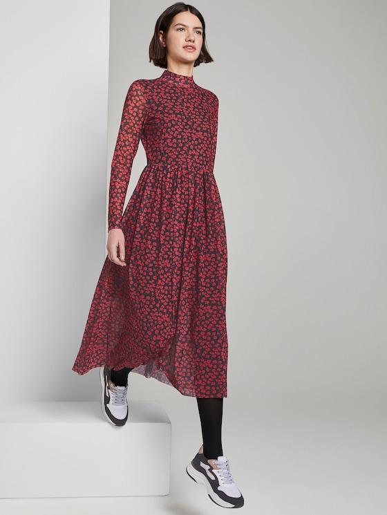 patroon midi-kleedje - Vrouwen - black and red flower design - 5 - TOM TAILOR Denim