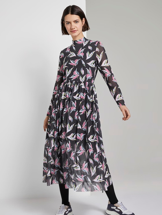 patroon midi-kleedje - Vrouwen - black abstract flower print - 5 - TOM TAILOR Denim